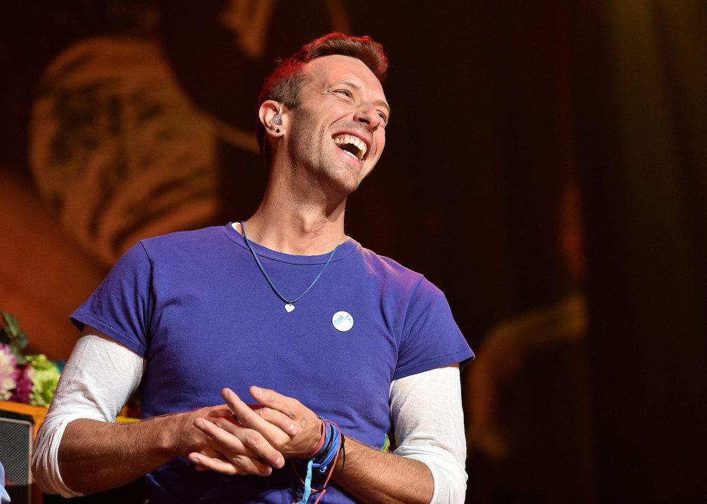 Chris Martin of Coldplay speaks on stage at iHeartMedia Presents The iHeartRadio Album Release Party at iHeartRadio Theater on November 19, 2015 in Burbank, California. (Photo by Mike Windle/Getty Images for iHeartMedia)