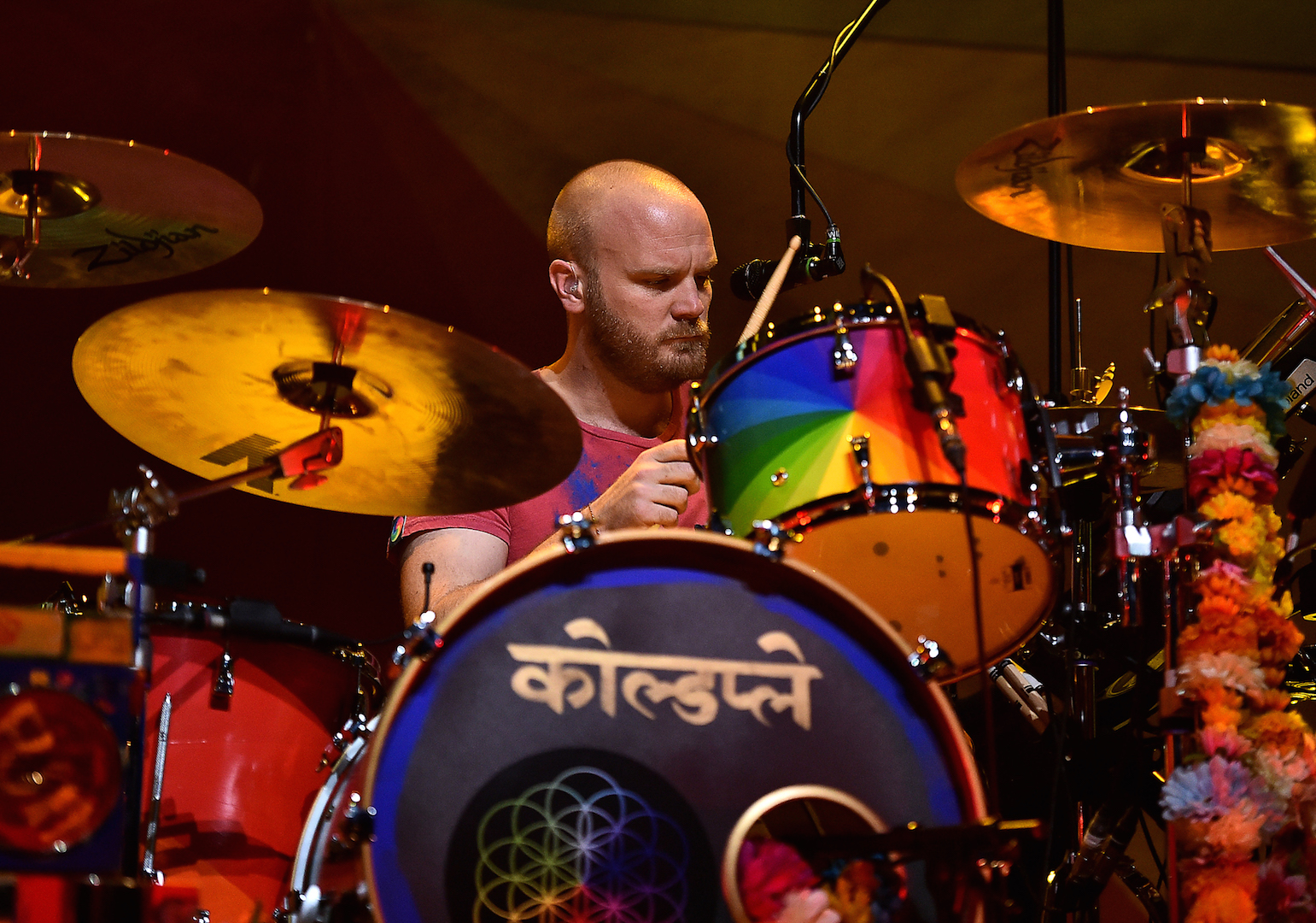 BURBANK, CA - NOVEMBER 19: Drummer Will Champion of Coldplay performs on stage at iHeartMedia Presents The iHeartRadio Album Release Party at iHeartRadio Theater on November 19, 2015 in Burbank, California.  (Photo by Mike Windle/Getty Images for iHeartMedia) *** Local Caption *** Will Champion