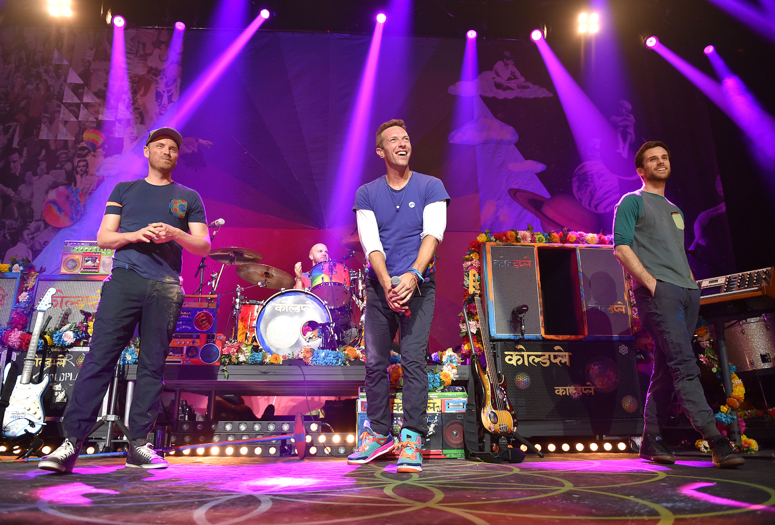 BURBANK, CA - NOVEMBER 19:  Singer Chris Martin, guitarist Jonny Buckland, bass player Guy Berryman and drummer Will Champion of Coldplay perform on stage at iHeartMedia Presents The iHeartRadio Album Release Party at iHeartRadio Theater on November 19, 2015 in Burbank, California.  (Photo by Mike Windle/Getty Images for iHeartMedia) *** Local Caption *** Chris Martin;Jonny Buckland;Guy Berryman;Will Champion