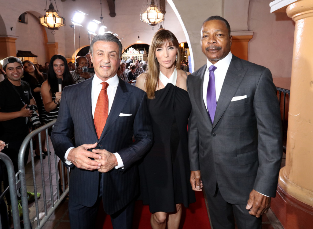 SANTA BARBARA, CA - FEBRUARY 09: Actor Sylvester Stallone, Model Jennifer Flavin and Actor Carl Weathers attend the Montecito Award at the Arlington Theater at the 31st Santa Barbara International Film Festival on February 9, 2016 in Santa Barbara, California. (Photo by Mark Davis/Getty Images for Santa Barbara International Film Festival)