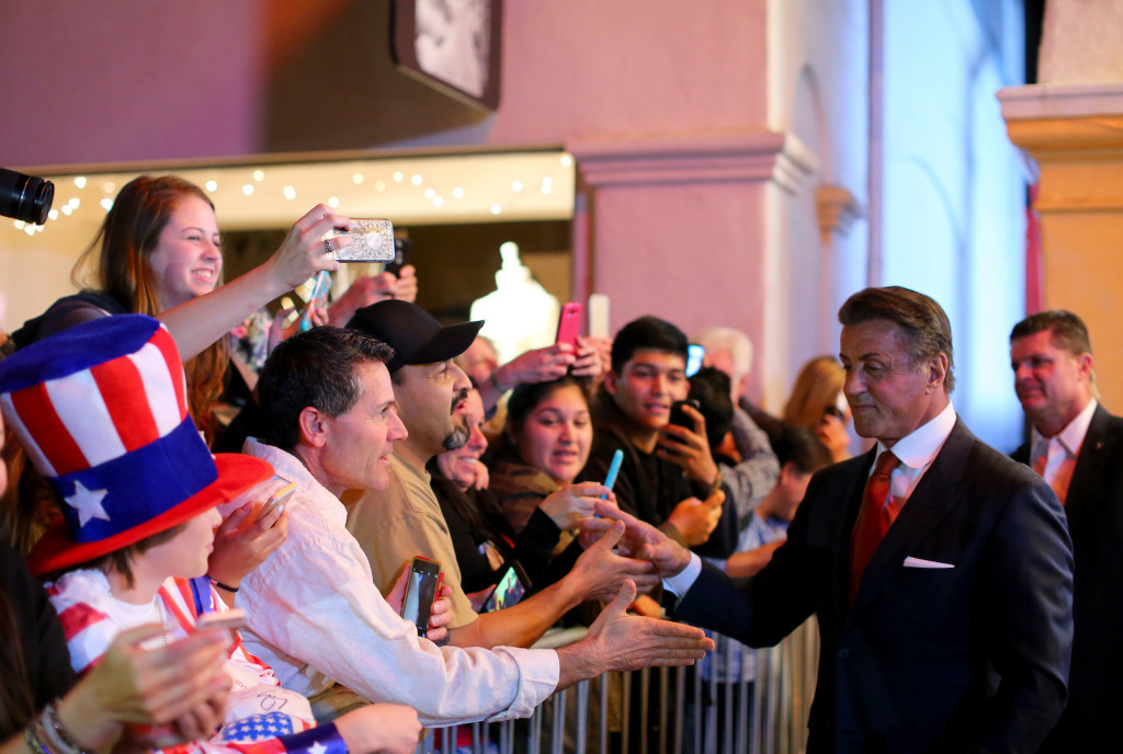 SANTA BARBARA, CA - FEBRUARY 09: Actor Sylvester Stallone signs autographs at the Montecito Award at the Arlington Theater at the 31st Santa Barbara International Film Festival on February 9, 2016 in Santa Barbara, California. (Photo by Mark Davis/Getty Images for Santa Barbara International Film Festival)
