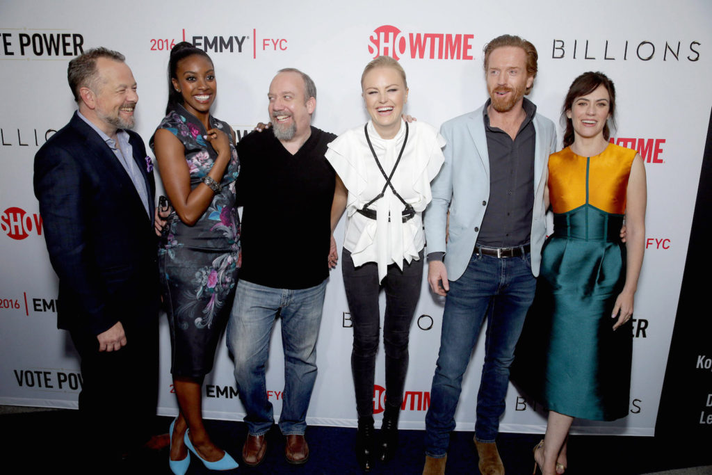 "David Costabile, Condola Rashad, Paul Giamatti, Malin Akerman, Damian Lewis and Maggie Siff at Showtime ""Billions"" ATAS FYC at WGA on Tuesday, April 26, 2016, in Los Angeles. (Photo by Eric Charbonneau/Invision for Showtime)"