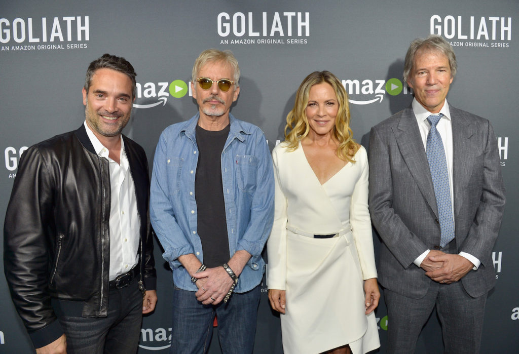 "LOS ANGELES, CA - SEPTEMBER 29: (L-R) Head of Drama Series for Amazon Studios, Morgan Wandell, actors Billy Bob Thornton, Maria Bello and Writer/Executive Producer David E. Kelley attend the Amazon red carpet premiere screening of original drama series ""Goliath"" at The London West Hollywood on September 29, 2016 in Los Angeles, California. (Photo by Charley Gallay/Getty Images for Amazon Studios)"