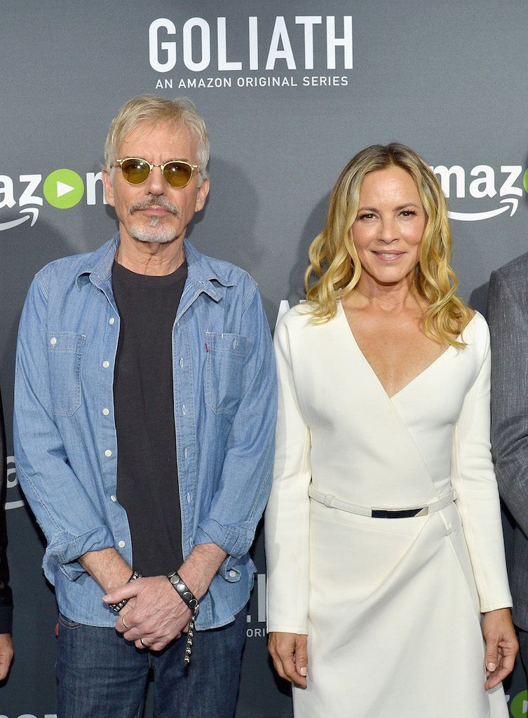 "LOS ANGELES, CA - SEPTEMBER 29: Actors Billy Bob Thornton (L) and Maria Bello attend the Amazon red carpet premiere screening of original drama series ""Goliath"" at The London West Hollywood on September 29, 2016 in Los Angeles, California. (Photo by Charley Gallay/Getty Images for Amazon Studios)"