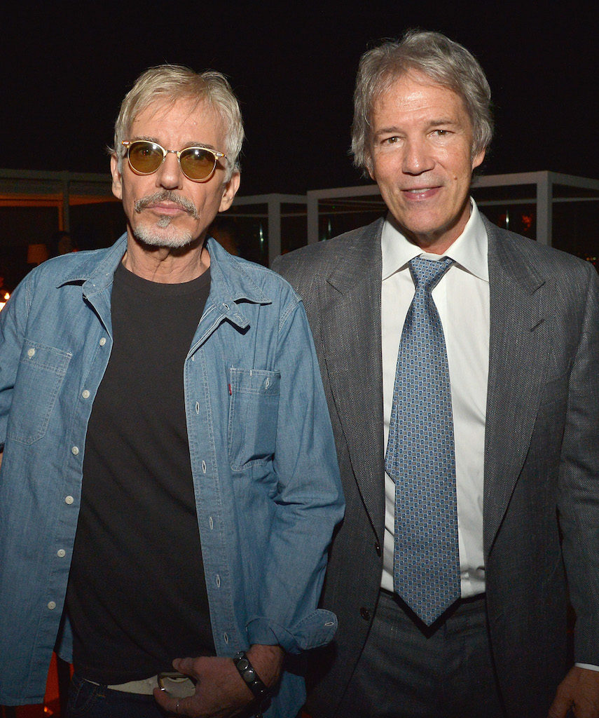 "LOS ANGELES, CA - SEPTEMBER 29: Actor Billy Bob Thornton (L) and Writer/Executive Producer David E. Kelley attend the Amazon red carpet premiere screening of original drama series ""Goliath"" at The London West Hollywood on September 29, 2016 in Los Angeles, California. (Photo by Charley Gallay/Getty Images for Amazon Studios)"